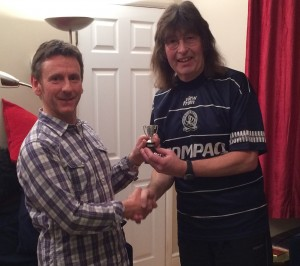 Rob presents Al with the Riff Raff Premier League trophy