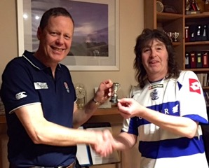 Rob presents Stuart with the 5-a-side cup
